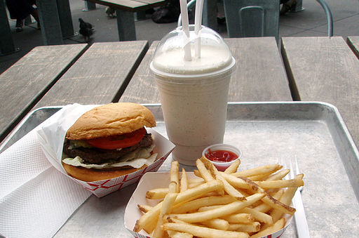 Hamburger, fries, and a shake